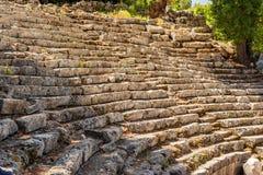 Αρχαίο θέατρο στην παλαιά πόλη Phaselis, Antalya Destrict, Τουρκία Στοκ Φωτογραφία