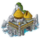 Αρχαίο κάστρο δίπλα στο βράχο και το νερό διάνυσμα ελεύθερη απεικόνιση δικαιώματος