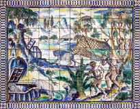 Αρχαίο κεραμικό κεραμίδι, μουσείο Azulejo, Λισσαβώνα, Πορτογαλία Στοκ Εικόνες