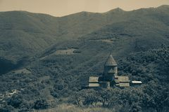Αρχαίο μοναστήρι Tatev, Αρμενία, σέπια Στοκ εικόνες με δικαίωμα ελεύθερης χρήσης