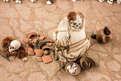 Αρχαίο νεκροταφείο Chauchilla στο Περού, μούμια μωρών Στοκ εικόνα με δικαίωμα ελεύθερης χρήσης