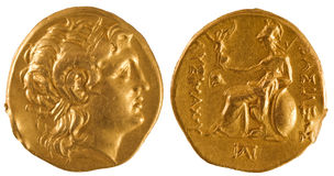 αρχαίο νόμισμα χρυσή Ελλά&delta Στοκ Φωτογραφίες