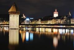 Αρχαίο οχυρό γεφυρών παρεκκλησιών και θέση ταξιδιού σε Λουκέρνη Ελβετία Στοκ Εικόνες