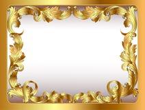 Αρχαίο πλαισιωμένο υπόβαθρο χρυσό φυτικό orname Στοκ Εικόνες