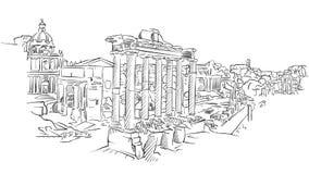 Αρχαίο ρωμαϊκό φόρουμ της Ρώμης διανυσματική απεικόνιση