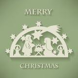 αρχαίο σύνολο σκηνής nativity ειδωλίων Υπόβαθρο Χριστουγέννων περικοπών εγγράφου Στοκ Εικόνες