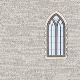 Αρχαίο υπόβαθρο τουβλότοιχος με το γοτθικό παράθυρο Shabby τούβλο W Στοκ Εικόνες