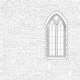 Αρχαίο υπόβαθρο τουβλότοιχος με το γοτθικό παράθυρο Shabby τούβλο W Στοκ φωτογραφία με δικαίωμα ελεύθερης χρήσης