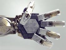 Αρχαίο χέρι cyborg που κρατά ένα κενό μετάλλιο Στοκ Εικόνες
