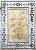Αρχαίο χαρασμένο λουλούδι στο μάρμαρο στο ηλέκτρινο οχυρό, Jaipur, Rajasthan Στοκ Φωτογραφία