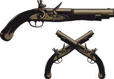 Αρχαίο flintlock πιστόλι Στοκ εικόνα με δικαίωμα ελεύθερης χρήσης