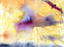 αρχαίο watercolor εγγράφου ανασκόπησης σκοτεινό κίτρινο Ανύψωση αετών υψηλή στον ουρανό διανυσματική απεικόνιση