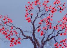 αρχαίο watercolor εγγράφου ανασκόπησης σκοτεινό κίτρινο Κόκκινα λουλούδια στο δέντρο Στοκ Εικόνες