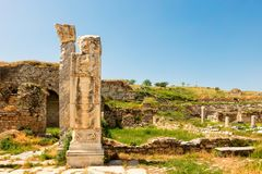Αρχαιολογική περιοχή της πόλης Helenistic Aphrodisias στη δυτική Ανατολία, Τουρκία Στοκ εικόνες με δικαίωμα ελεύθερης χρήσης