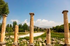Αρχαιολογική περιοχή της πόλης Helenistic Aphrodisias στη δυτική Ανατολία, Τουρκία Στοκ Φωτογραφία