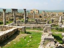Αρχαιολογική περιοχή Volubilis, η αρχαία ρωμαϊκή πόλη στο Μαρόκο Στοκ Φωτογραφίες