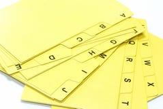 αρχείο καρτών αλφάβητου Στοκ φωτογραφίες με δικαίωμα ελεύθερης χρήσης