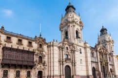 Αρχιεπισκοπικό παλάτι στο της Λίμα Περού Στοκ εικόνα με δικαίωμα ελεύθερης χρήσης