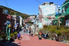 Αρχικά και ζωηρόχρωμα κτήρια σε Pusan, Νότια Κορέα Στοκ Εικόνες