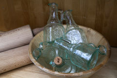 Αρχικά κενά μπουκάλια γυαλιού Στοκ Εικόνες