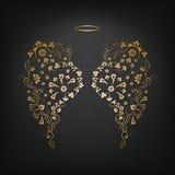 Αρχικά floral φτερά και Nimbus αγγέλου Στοκ Εικόνα