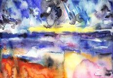 Αρχική αφηρημένη βούρτσα υποβάθρου watercolor Στοκ εικόνες με δικαίωμα ελεύθερης χρήσης