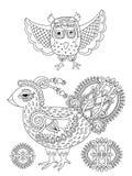 Αρχική γραπτή σελίδα σχεδίων γραμμών του πουλιού βιβλίων χρωματισμού Στοκ Εικόνες
