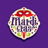 Αρχική ετικέτα της Mardi Gras καρναβάλι, αυτοκόλλητη ετικέττα με την κόκκινη ενετική μάσκα μεταμφιέσεων Γράφοντας διακόσμηση διακ Στοκ εικόνες με δικαίωμα ελεύθερης χρήσης