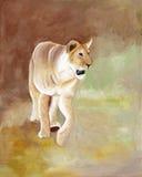 Αρχική ζωγραφική μιας λιονταρίνας του εθνικού πάρκου Masai Mara, Κένυα Στοκ φωτογραφίες με δικαίωμα ελεύθερης χρήσης
