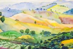 Αρχική ζωγραφική τοπίων Watercolor ζωηρόχρωμη του βουνού και της συγκίνησης διανυσματική απεικόνιση