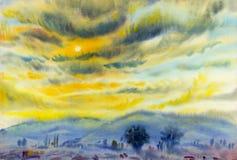 Αρχική ζωγραφική τοπίων Watercolor ζωηρόχρωμη του ηλιοβασιλέματος στο σύννεφο απεικόνιση αποθεμάτων