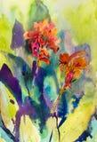 Αρχική ζωγραφική τοπίων Watercolor ζωηρόχρωμη του λουλουδιού κρίνων canna ελεύθερη απεικόνιση δικαιώματος
