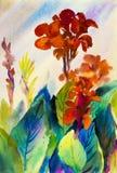 Αρχική ζωγραφική τοπίων Watercolor ζωηρόχρωμη του λουλουδιού κρίνων canna διανυσματική απεικόνιση