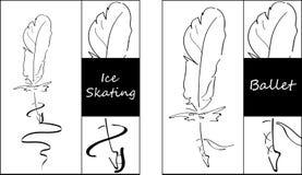 Αρχική μάνδρα φτερών που τίθεται για τον πάγο που κάνει πατινάζ και χορός μπαλέτου μαύρο λευκό ελεύθερη απεικόνιση δικαιώματος