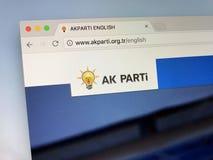 Αρχική σελίδα του τουρκικού κόμματος δικαιοσύνης και ανάπτυξης - AK Parti Στοκ Εικόνες