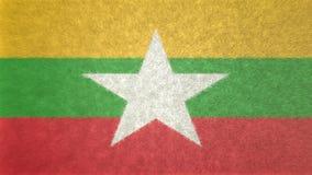 Αρχική τρισδιάστατη εικόνα της σημαίας της Βιρμανίας Διανυσματική απεικόνιση