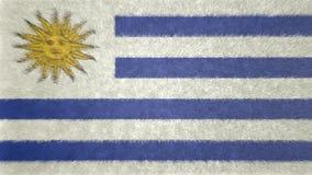 Αρχική τρισδιάστατη εικόνα της σημαίας της Ουρουγουάης Απεικόνιση αποθεμάτων