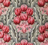 Αρχική υφαντική διακόσμηση υφάσματος του σύγχρονου ύφους Το αγγείο είναι ζωγραφισμένο στο χέρι με την γκουας στοκ εικόνες με δικαίωμα ελεύθερης χρήσης
