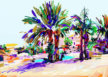 Αρχική ψηφιακή ζωγραφική του ζωηρόχρωμου τοπίου της Κύπρου με το φοίνικα απεικόνιση αποθεμάτων