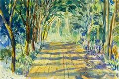 Αρχικός ζωηρόχρωμος τοπίων watercolor ζωγραφικής των δέντρων σηράγγων ελεύθερη απεικόνιση δικαιώματος