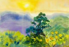 Αρχικός ζωηρόχρωμος τοπίων watercolor τέχνης ζωγραφικής του βουνού απεικόνιση αποθεμάτων