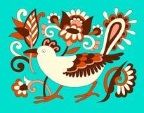 Αρχικό ασιατικό διακοσμητικό εθνικό πουλί με τα λουλούδια, ethno ukr Στοκ Εικόνα