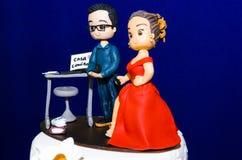 Αρχικό γαμήλιο κέικ στοκ εικόνες