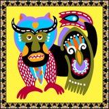 Αρχικό ουκρανικό σχέδιο ταπήτων με το ζώο και τα λουλούδια φαντασίας διανυσματική απεικόνιση