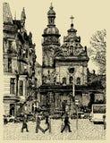 Αρχικό περιγραμματικό χειροποίητο σχέδιο Lviv Στοκ Φωτογραφία