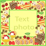 Αρχικό πλαίσιο για τις φωτογραφίες και το κείμενο Τα γλυκά κέικ δημιουργούν μια εορταστική διάθεση Ένα τέλειο δώρο για τα παιδιά  διανυσματική απεικόνιση