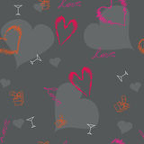 Αρχικό σχέδιο καρδιών βαλεντίνων Στοκ Φωτογραφία