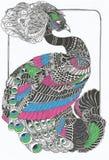 Αρχικό σχέδιο τέχνης γραμμών peacock Στοκ Φωτογραφία
