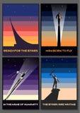 Αρχικό σύνολο διαστημικών αφισών προπαγάνδας στοκ εικόνα