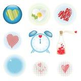 αρχικό σύνολο εικονιδίων καρδιών Στοκ φωτογραφίες με δικαίωμα ελεύθερης χρήσης